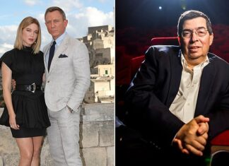 Hard times: The latest James Bond film, No Time To Die (pictured left), was delayed again, but  Cineworld boss Mooky Greidinger (right) and his brother Israel will receive £33m each