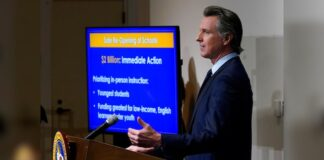 FILE: California Gov. Gavin Newsom outlines the safe re-opening of schools while speaking about his 2021-2022 state budget proposal during a news conference in Sacramento, Calif.