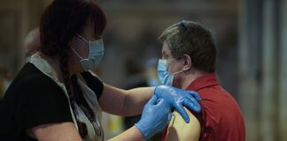 A man receives his Covid-19 vaccinations at Lichfield Cathedral, Staffordshire earlier this week