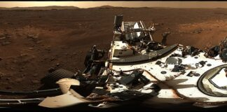 NASA gave the world a tour of Mars using the high resolution 360-degree panorama Perseverance sent back from the Red Planet. The rover captured the scene using its powerful Mast Camera, Mastcam-Z for short, as it sat about one and a half miles from the basin of the Jezero Crater with mountains in the distance surrounding the rim