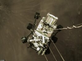 NASA shared an exciting image shot by the sky crane that shows Perseverance, nicknamed Perky, slung beneath and attached to mechanical bridals – moments before making landfall. NASA believes this image will become an iconic picture of spaceflight history
