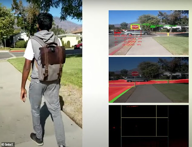 The AI backpack (left) provides information to the wearer about traffic signs, car, and other common challenges via a Bluetooth-enabled earpiece