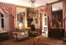 The Regency Room of Plas Teg, a haunted 17th-century mansion in Wales