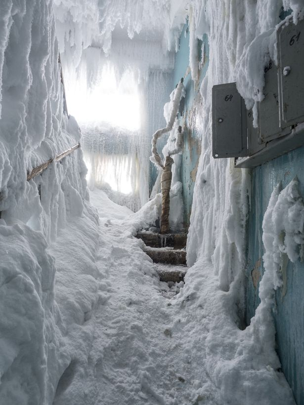 A staircase was covered in snow and ice