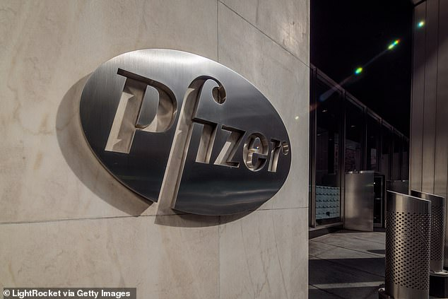 The data is expected by the third week of November and, if positive, the company will apply for emergency use authorization with the FDA. Pictured: Pfizer headquarters in New York City