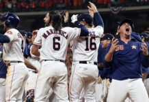 Will Harris #36 of the Houston Astros celebrates with this teammates after winning the ALCS Championship against the New York Yankees in Game 6 of the American League Championship Series at Minute Maid Park on October 19, 2019 in Houston, Texas. (Photo by Bob Levey/Getty Images)