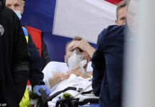 Christian Eriksen (above) collapsed after suffering a cardiac arrest while playing at Euro 2020