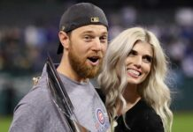 Ben Zobrist, left, and his wife Julianna, after the Cubs won the World Series in 2016. (Photo by Ezra Shaw/Getty Images)