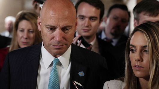 White House Director of Legislative Affairs Marc Short speaks to members of the media as he leaves a Republican conference meeting June 7, 2018 on Capitol in Washington, DC. House GOPers gathered to discuss immigration.