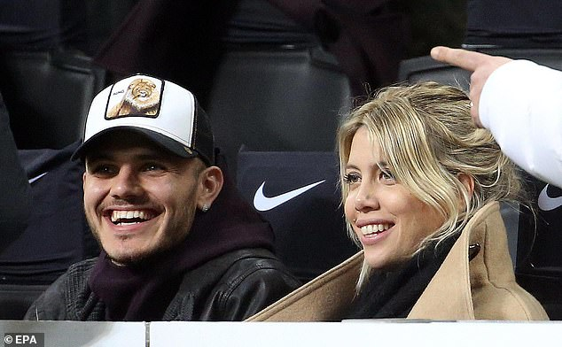 Inter Milan striker Mauro Icardi and his wife Wanda in the stands at the San Siro on Sunday