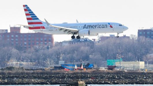 An American Airlines Boeing 737 Max 8, on a flight from Miami to New York City, comes in for landing at LaGuardia Airport in New York, March 12, 2019.