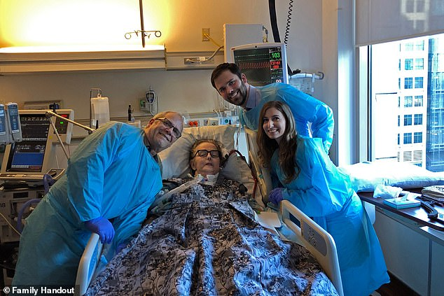 Stephanie Spoor (pictured in hospital) contracted Candida auris, a deadly and increasingly ubiquitous superbug, while battling a sinus infection. Days before she passed, her son Zack and his fiancee Carley got married at her bedside (pictured together, right, with Stephanie and her husband Gregory)