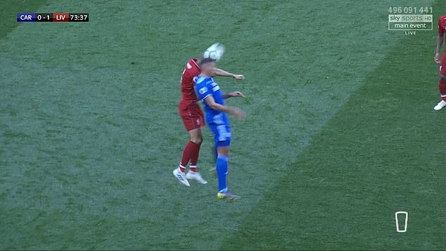 Fabinho clashed heads with Cardiff City striker Kenneth Zohore during Liverpool