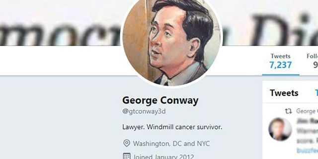 """George Conway, husband of White House adviser Kellyanne Conway and vocal Trump critic, took a subtle dig at the president in his Twitter profile, calling himself a """"windmill cancer survivor."""""""