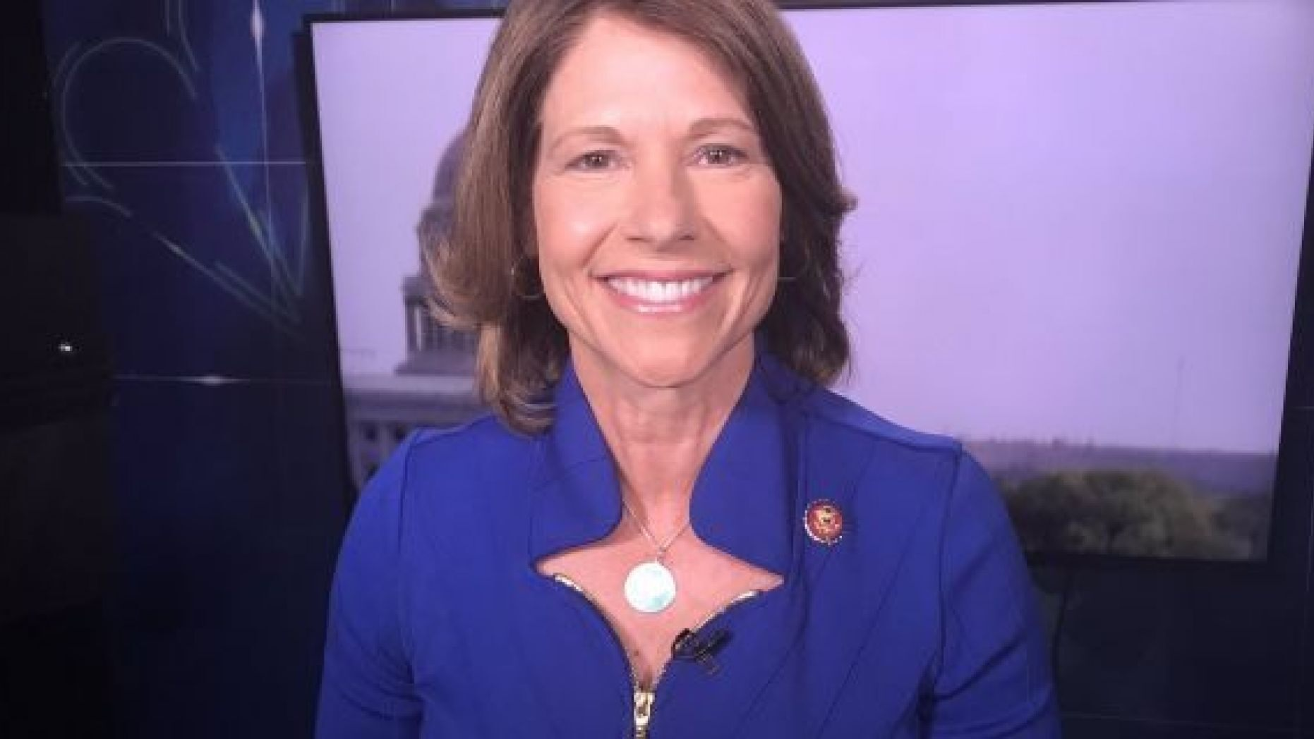 Rep. Cheri Bustos seen before a June interview on MSNBC.