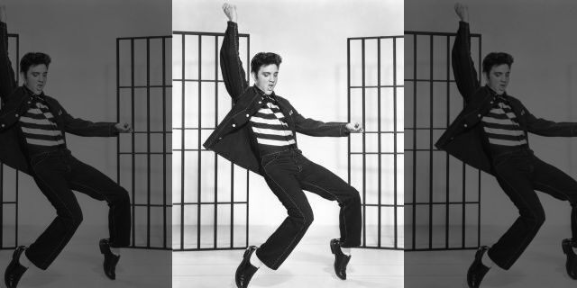 "Elvis Presley on the set of ""Jailhouse Rock,"" directed by Richard Thorpe. (Photo by Metro-Goldwyn-Mayer/Sunset Boulevard/Corbis via Getty Images)"