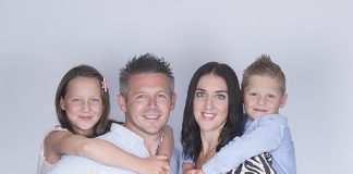 Natural success: Dan and Laura Slattery with Bella and Zack, above. Left, Sarah and Andy Banks with Jack and Millie