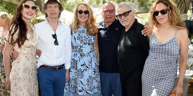 "From l-r: Elizabeth Jagger, Mick Jagger, Jerry Murdoch, Executive Chairman News Corp. & Co-Chairman Fox Corporation Rupert Murdoch, Harvey Keitel, and Daphne Kastner attend a BBQ lunch in the vineyard ""Celebrating Thirty Years of Moraga Bel Air"" hosted by Jerry and Rupert Murdoch on Aug. 25, 2019 in Bel Air, California."