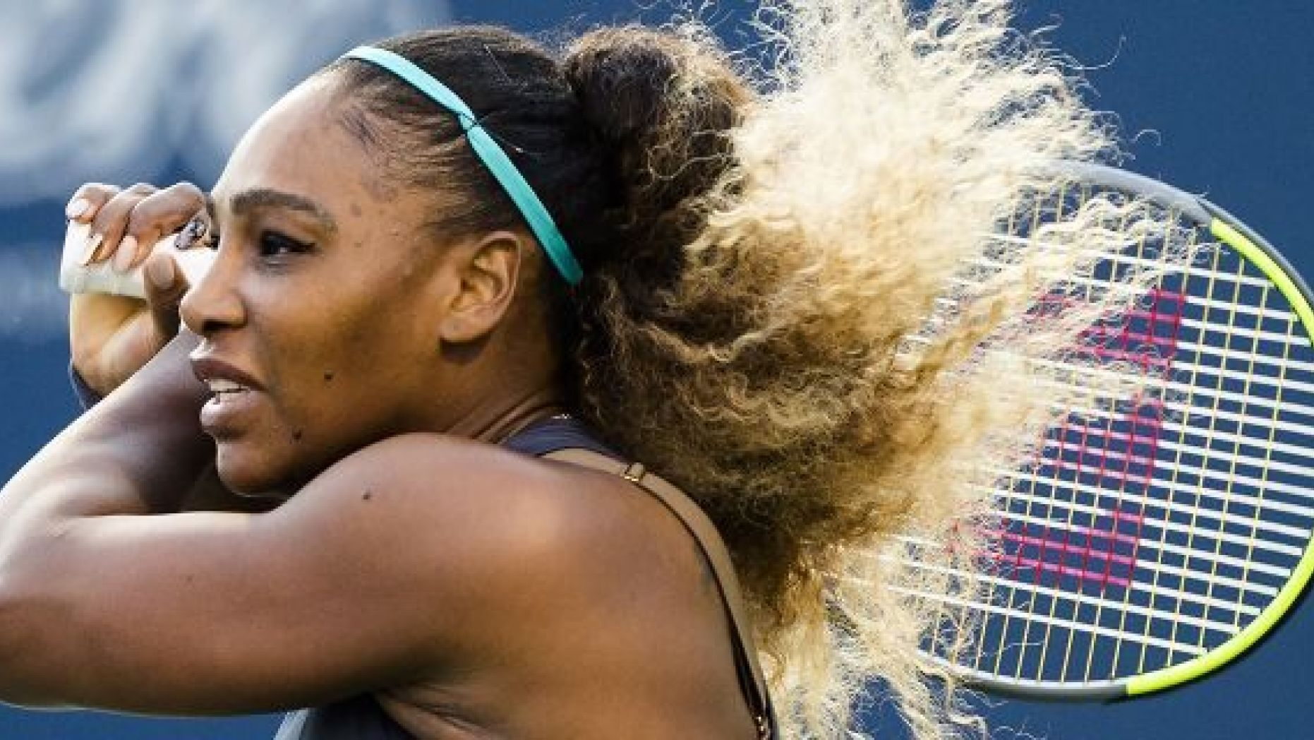 Serena Williams, of the United States, watches a return to Ekaterina Alexandrova, of Russia, during the Rogers Cup women's tennis tournament Thursday, Aug. 8, 2019, in Toronto. (Nathan Denette/The Canadian Press via AP)