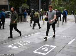 Phone zombies: Two adjacent 75-metre long (247-foot) 'safe lanes' have been installed in the city