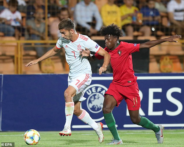 Felix Correia (right) in action against Spain during the European Under-19 Championship final