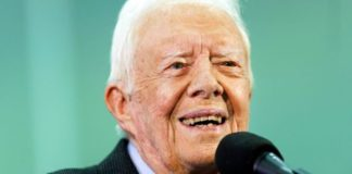 Sept. 18, 2019: Former President Jimmy Carter listens to a question submitted by a student during an annual Carter Town Hall held at Emory University in Atlanta. (AP)