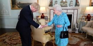 The Queen greeting Boris Johnson after he became prime minister in July