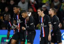 PSG celebrate their opening goal after Mauro Icardi deflected Angel Di Maria