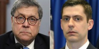 """Attorney General William Barr, left, has asked U.S. Attorney John Bash to review """"unmasking"""" before and after the 2016 election."""
