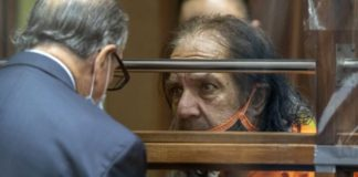 Adult film star Ron Jeremy talks with his attorney Stuart Goldfarb during his arraignment on rape and sexual assault charges at Clara Shortridge Foltz Criminal Justice Center, Friday, June 26, 2020, in Los Angeles.
