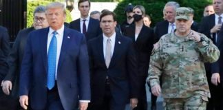 FILE - In this June 1, 2020 file photo, President Donald Trump departs the White House to visit outside St. John