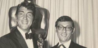 Don collects his 1966 Academy Award for Born Free from Dean Martin