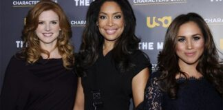 Actresses Sarah Rafferty, Gina Torres and Meghan Markle attend the USA Network and The Moth