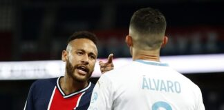 Neymar was among five players sent off after a brawl started during PSG