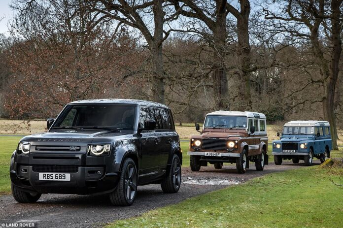 Most potent Defender ever: The new V8 Defender 110 leading a pair of its older eight-cylinder forefathers as the British marque unveils the gas-guzzling SUV