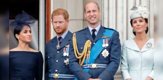 From left to right: Meghan Markle, Prince Harry, Prince William and Kate Middleton. Middleton found Markle and Harry