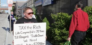 This 2012 file photo shows James Hodgkinson of Belleville protesting outside the United States Post Office in Downtown Belleville, Ill.