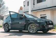 TV presenter Nicki Shields tries out a sporty seven-seater Audi SQ7 SUV which can rocket fromrest to 62 mph in just 4.1 seconds up to a top speed limited to 155 mph