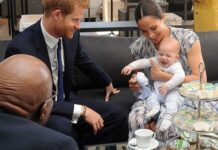 Meghan Markle and Prince Harry with their son Archie when he was four months old as they meet with Archbishop Desmond Tutu at the Tutu Legacy Foundation in Cape Town on Sep. 25, 2019.