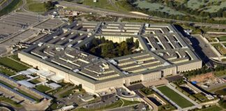 US Pentagon in Washington DC building looking down aerial view from above