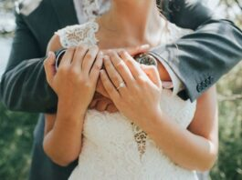 Close up of bride and grooms