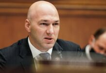 U.S. Rep. Anthony Gonzalez (R-OH) is seen during a House Financial Services Committee oversight hearing to discuss the Treasury Department