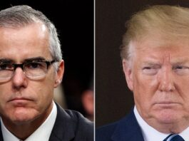 """Former President Trump, right, called is a """"great day for Democracy"""" when former FBI Deputy Director Andrew McCabe was fired in March 2018."""
