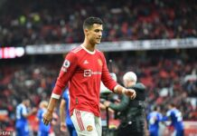 Cristiano Ronaldo was visibly frustrated after Manchester United